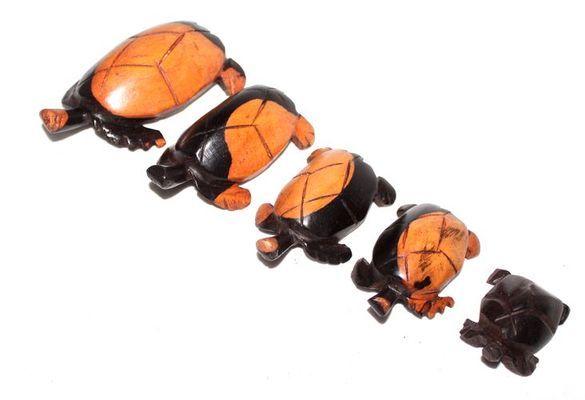 Série 5 tortues en bois ébène TSM8