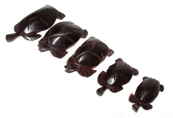Série 5 tortues en bois ébène TSM1