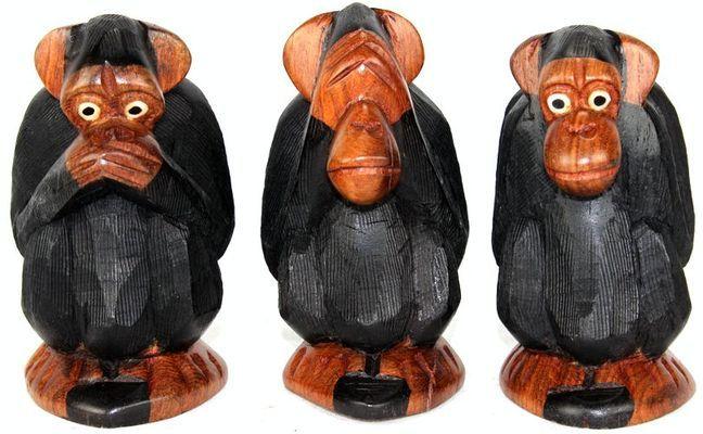 Singes  les trois sages en teck TSS1