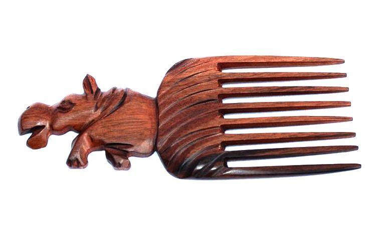 Peigne en Bois ébène motif hippopotame
