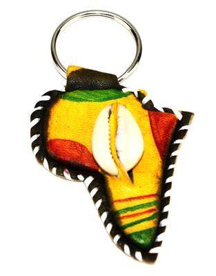 Porte clé artisanal carte afrique en cuir et caurie