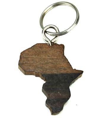 Porte clé en bois ébène motif carte afrique
